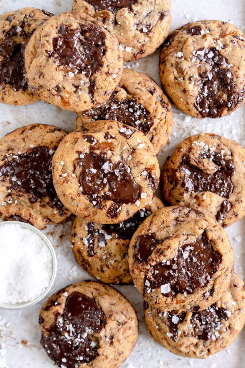 stacked cookies on pan