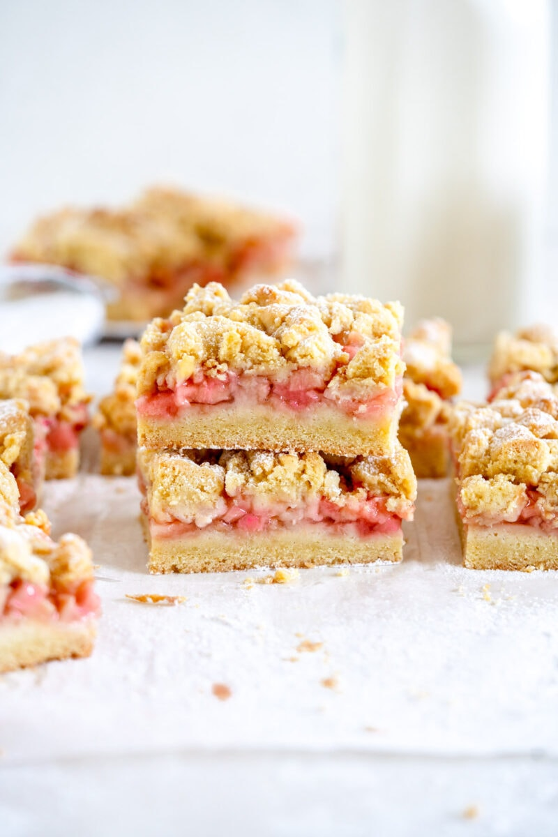 stacked rhubarb shortcake bars