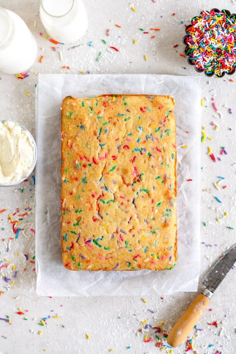 mini funfetti cake ready for frosting