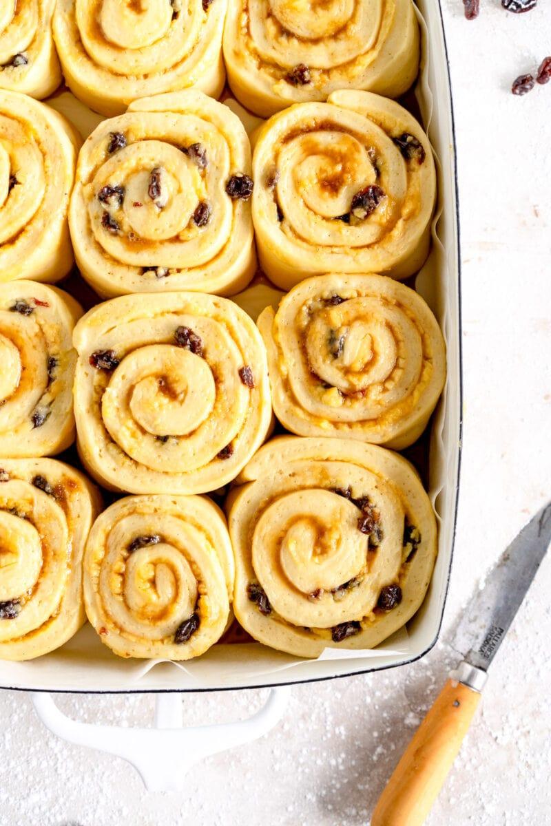 chelsea bun ready for oven