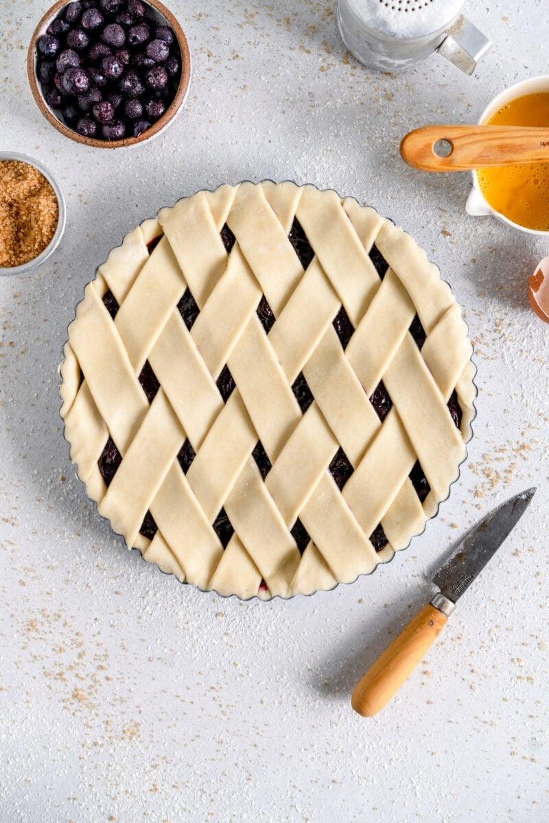 blueberry crostata ready to bake