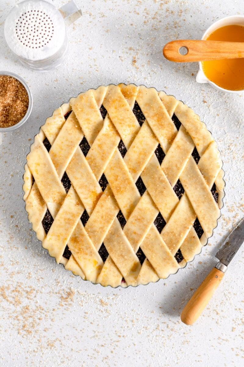 crostata ready to bake with sugar