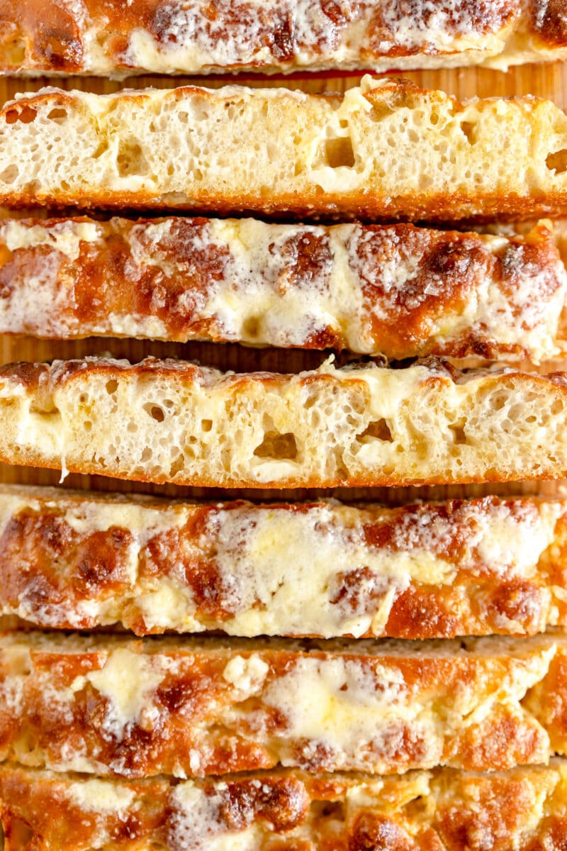 cheesy garlic bread slice shot