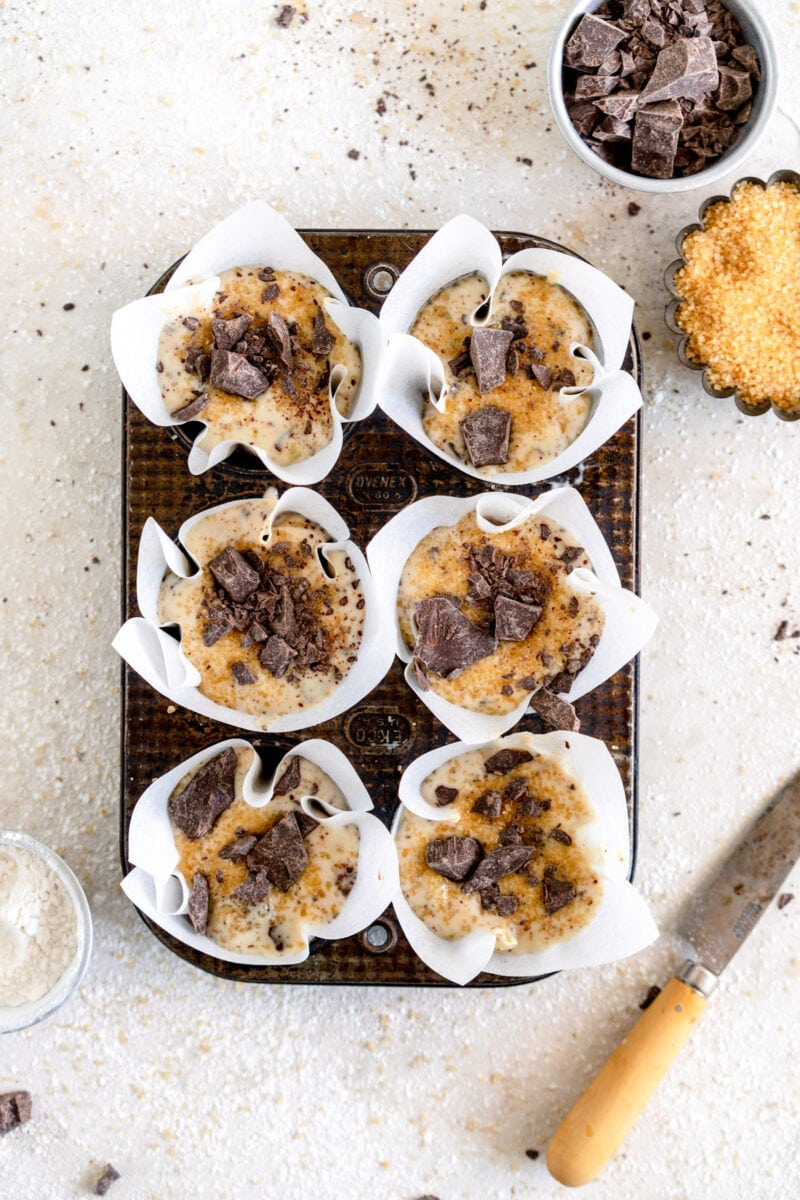 vegan banana muffins ready to bake