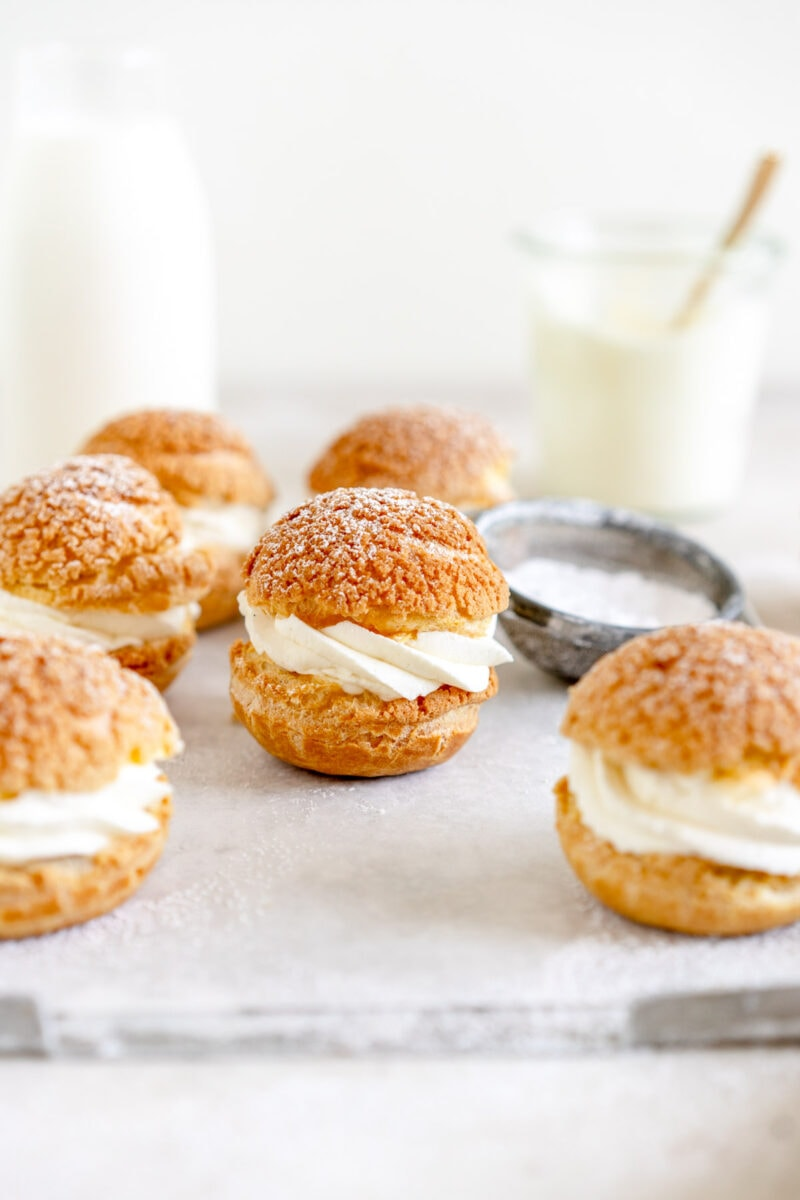 whipped cream filled cream puffs