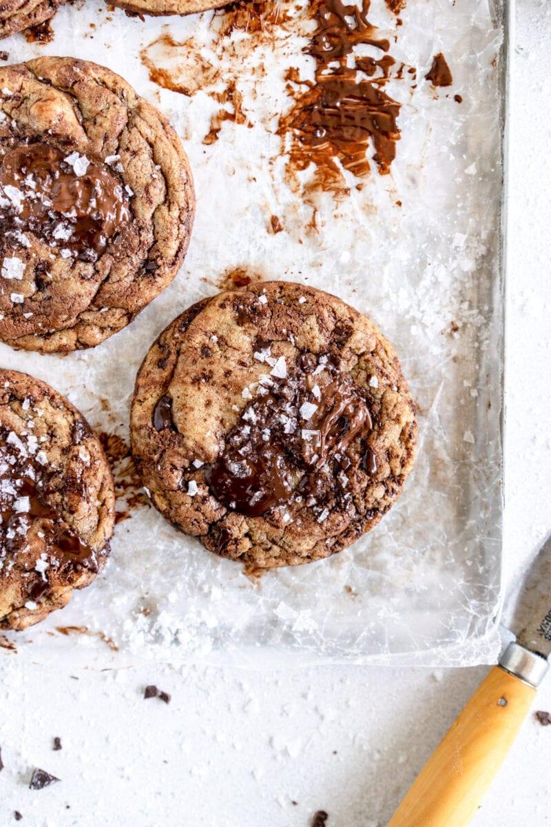 corner close up image nutella chocolate chip cookies
