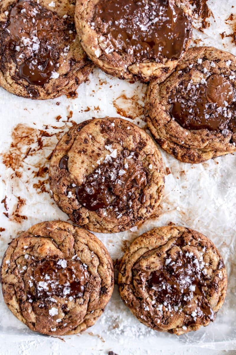 pan of chocolate chip cookies