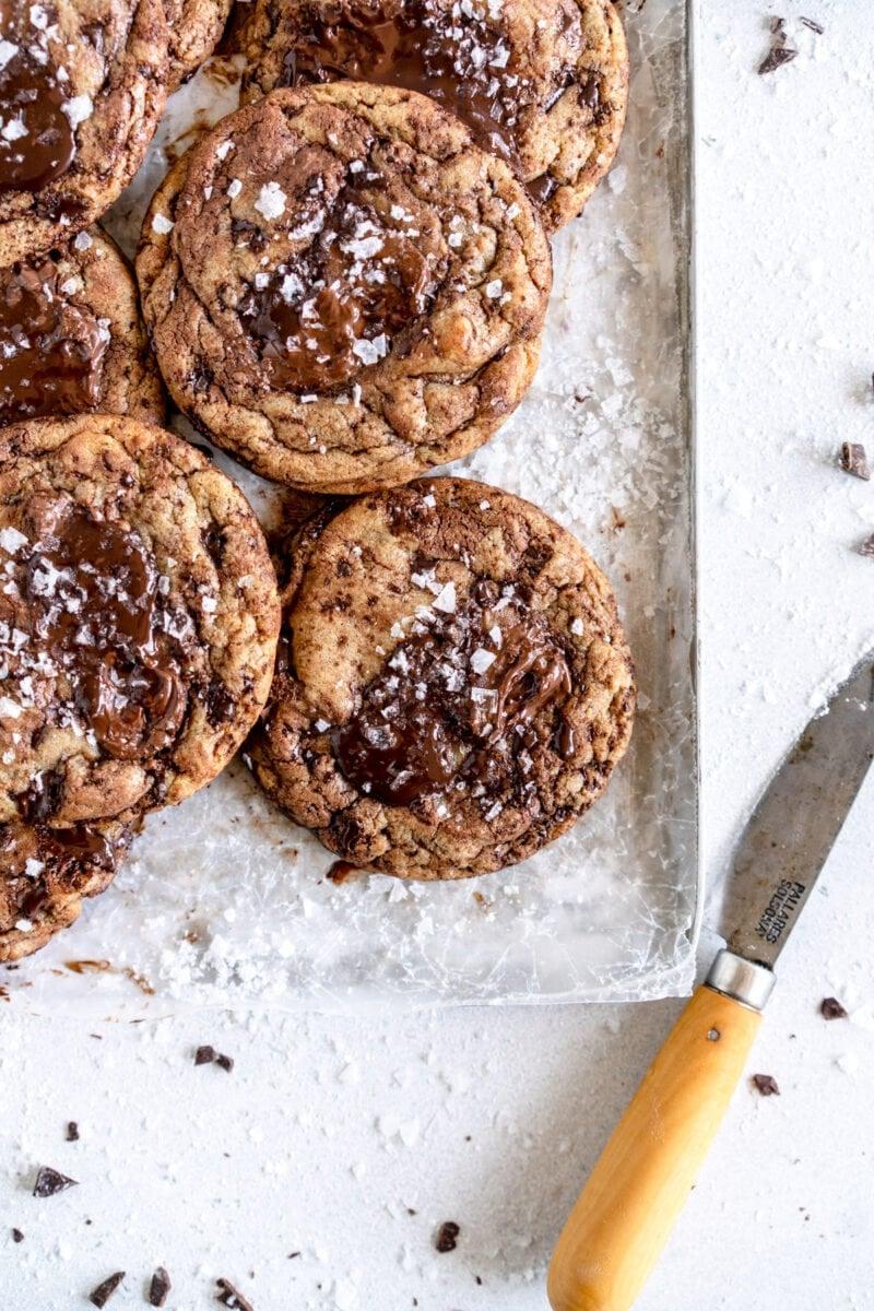 corner close up shot chocolate chip cookies