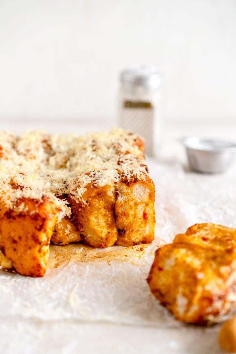 side shot of cheesy monkey bread