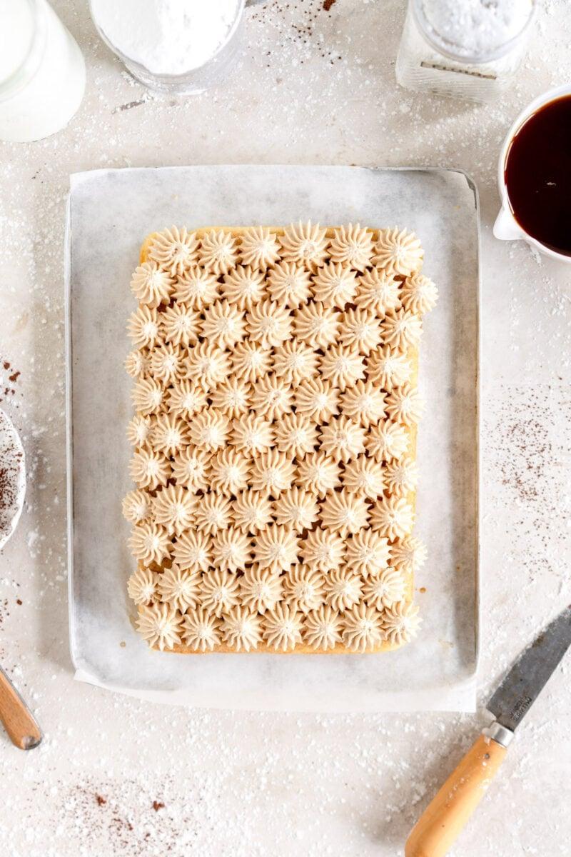 tiramisu snack cake with espresso mascarpone frosting